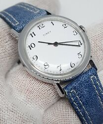 Rare Vintage Classic Timex Marlin Mens Mechanical Watch Blue Leather Silver Mint