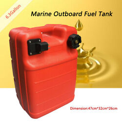 6.3 Gallon Boat Fuel Tank 24l External Red Portable Outboard Motor Gas Tank Us