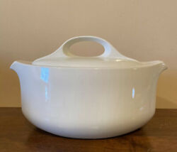 """W. R. Midwinter """"style"""" Oval Vegetable Bowl With Lid White"""
