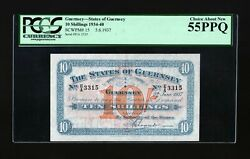 Guernsey States Of Guernsey 10 Shillings 1934-40 P-15 Pcgs Au55 Ppq