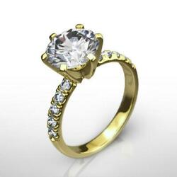 Diamond Round Cut Ring Si1 1.66 Ct Certified Awesome 18k Yellow Gold Size 7 8 9