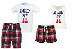 Daddy Elf Mummy Elf Christmas Couples Matching Pyjama Tartan Shorts Set Couples