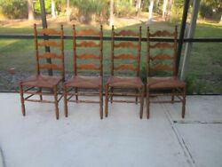 Vintage Ladder Back Wood Chair Straw Seat Tell City Set Of 4