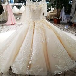 Ls74335 2018 Luxury Wedding Dress With Sleeves Ball Gown Lace Up Back Champagne
