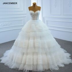 Rsm67175 White Sexy Tube Top Tulle Backless Wedding Bridal Gown 2021 Ruffled