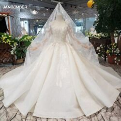 Htl331 Ball Gown Wedding Dress With Wedding Veil Square Neck Long Sleeve Button