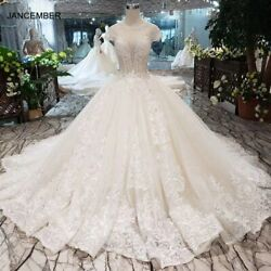 Htl268 Simple Wedding Dresse's Illusion O-neck Cap Sleeves Backless Lace Up