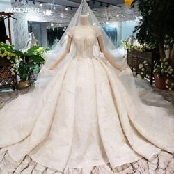 Ls20472 Luxury Wedding Dresses With Bridal Veil High Neck Short Sleeve Ball