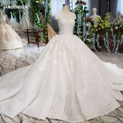 Lss513 Vintage Wedding Dress 2020 Appliques With Wedding Veil O-neck Lace Up