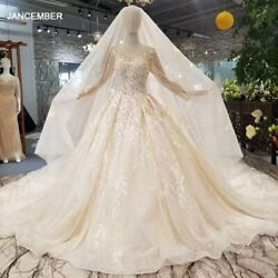 Ls479011 Shiny Wedding Dresses With Wedding Veil Long Tulle Sleeve Appliques
