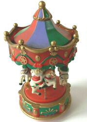 Vintage Merry Go Round. Battery Lights Up Toy And Runs 4 Horses And Riders Up And Down