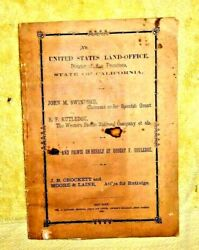 Antique Booklet Claimant Spanish Grant Western Pacific Railroad San Jose 1867