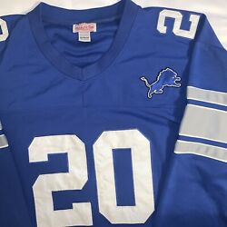 Mitchell And Ness Barry Sanders Throwback Jersey Mens 4xl Sz 60 Detroit Lions Blue