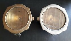 Pair Antique Headlights From 1920s, Brass Chrome Plated With Original Glass Lens