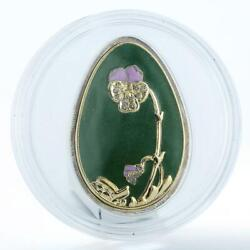 Cook Islands 5 Dollars Imperial Eggs In Cloisonne Egg In Green Silver 2010