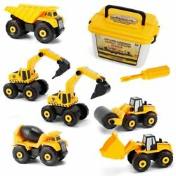 6 In 1 Diy Kids Die-cast Toy Mini Construction Digger Excavator Truck Car Gift E