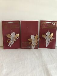 Christmas Decorations 3clear Angels Playing Instruments Victorian Collection