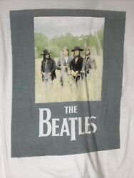 Official The Beatles Out Standing In The Field Apple Logo T-shirt Small White