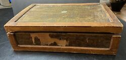 Antique Wooden Letter Writing Box Travel Lap Desk With Storage 15 X 10 X 4.5