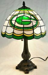 Green Bay Packers Bronze Table Lamp Glass Shade 19.5 The Memory Company
