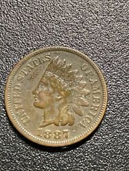 1887 Indian Head Cent Penny 1c Coin Us United States Copper