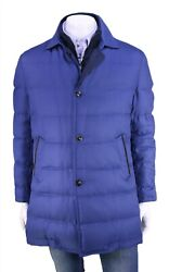 Nwd Kiton Blue Silk Quilted 3/4 Length Goose Down Puffer Coat Jacket 40/medium