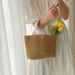 Women Rattan Bag Summer Beach Straw Bag Wicker Woven Totes Small White $24.99
