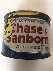 Chase Sanborn Vintage Metal Coffee Can With Lid