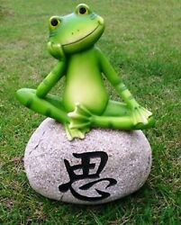 Pack Of 1 Plastic Feng Shui For Luck Wealth Happiness Frog Sitting On Stone