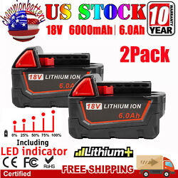 2pack For Milwaukee M18 Lithium Xc 6.0 Extended Capacity Battery 48-11-1860 Led