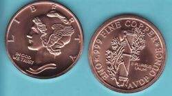 Mercury Dime Coin Back Ty-2 Design 1 Oz. Copper Round Coin In God We Trust