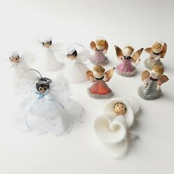 Vintage Christmas 1940s/50s Spun Cotton Silver Angel 10 Ornaments Made In Japan
