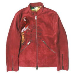 Etro 19aw Cow Suede Bomber Jacket 192-1l910-9539 S Red Leather Jacket