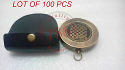 Nautical Antique Brass The Chess Maker 6th Century Ad Compass With Leather Case
