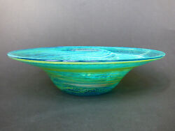 Mdina Early Blue Green And Yellow Glass Charger Michael Harris Malta 70s
