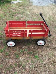 Vintage Radio Flyer Red Wooden Wagon 1960's Town And Country.