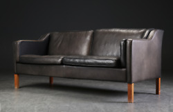 Vintage Danish Mid Century Stouby 2 1/2 Person Black Leather Sofa