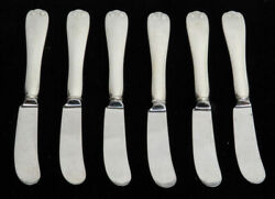 And Co Flemish Sterling Silver 6 Hollow Handle Butter Spreaders