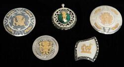 Beautiful Design Vintage Peruvian 18k Gold And Sterling Silver Brooches Collection