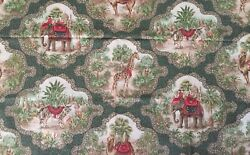 """Travers And Co """"les Animaux"""" Animal Print Giraffe Elephant Tiger Fabric Bty"""