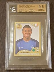 2018 Panini World Cup 209 Sticker Kylian Mbappe Gold Rookie Bgs 9.5 - France