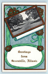 Greetings From Greenville Il + Zanesville Ohio Postcard Advertising On Verso