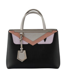 Fendi 8bh253 43t F042d Petite 2jours Monster Black And Pink Leather Satchel