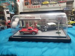 Franklin Mint Texaco Gas Station Service With A Smile Display With 3 Cars 143