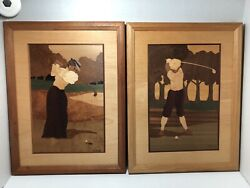 Vintage Hudson River Inlay Marquetry Wood Golfers Pictures Signed Jeff Nelson