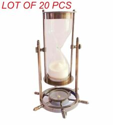 Nautical Antique Solid Brass Ship Maritime Wheel Hourglass With Compass Base