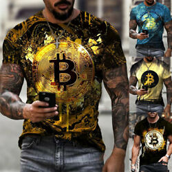 Men#x27;s Short Sleeve T shirt Bitcoin Dye Print Crewneck Slim Fit Undershirt S 5XL
