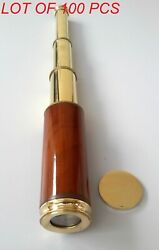 Nautical Vintage Marine Brass And Wood Collectible Maritime Spyglass Telescope 14