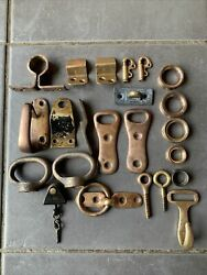 Job Lot Of Vintage Brass Yacht Sailing Boat Fittings Pulleys Clips Hooks Ties