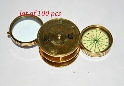 Vintage Antique Full Brass Folding Magnifying Glass Compass Lot Of 100 Pcs